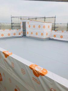 屋上防水完了・防水組貼り完了の写真